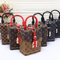 """Louis Vutitton"" Fashion Personality Rivet Multicolor Retro Print Tartan Single Shoulder Messenger Bag Women Handbag Small Box Bag"