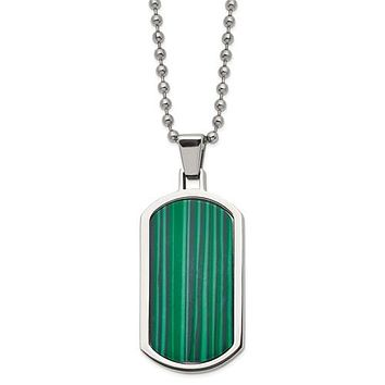 """Stainless Steel Polished Malachite Inlay 22"""" Dog Tag Necklace"""