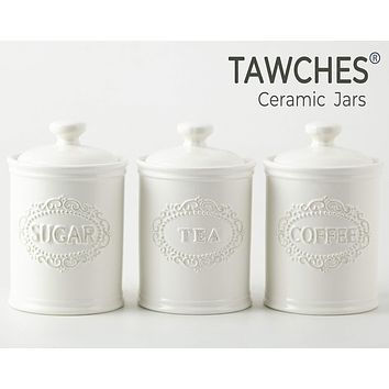 Canisters Sets for the Kitchen Airtight, Porcelain White Kitchen Canisters set of 3 for Coffee Tea Sugar, Ceramic Canisters With Lids TAWCHES