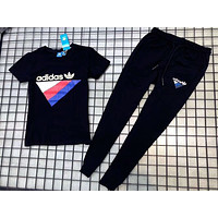 ADIDAS 2018 summer new men and women couple fashion printing sports suit two-piece F-AA-XDD black