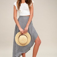 King Harbor Burgundy and Navy Blue Striped Maxi Skirt