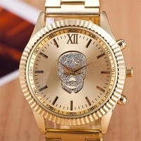 Gold Simple Quartz Watch Fashion Skull Watch Ladies