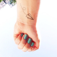 2pcs Small paper airplane - InknArt Temporary Tattoo -  wrist quote tattoo body sticker fake tattoo wedding tattoo small tattoo