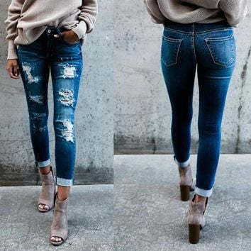 Ripped Holes Slim Cotton Jeans [1564268822582]