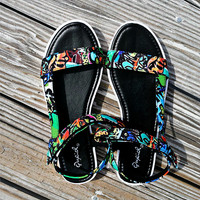 Miami Sizzle Multi Color Graffiti Print Velcro Flat Sandals