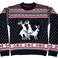 Guys - You make it rock! - Ugly Christmas Sweater - Reindeer Threesome Sweater featuring Rudolph by Skedouche