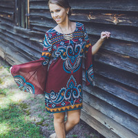 Flutter Sleeved Paisley Dress in Burgundy