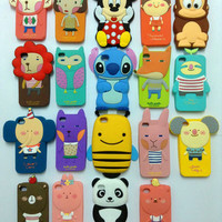 Cute Funny Cartoon Animal Soft Rubber Protective Case Cover For iPhone Samsung