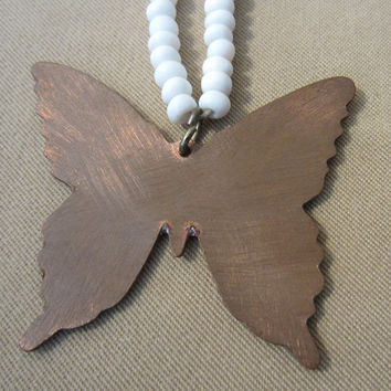 Vintage 70's Copper Enameled Butterfly Beaded Pendant, Unique Pendant, Ladies Gift, Wood Bead Necklace, Copper Jewelry, Enamel Jewelry, Cute