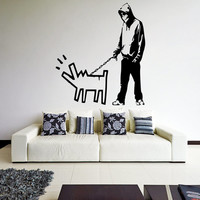 Banksy Vinyl Wall Decal Boy with Dog / Men Walking with Painted Dog Graffiti Street Art Decor Removable Sticker + Free Random Decal Gift!