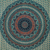 Queen Gray Multicolor Indian Psychedelic Bohemian Tapestry Wall Hanging on RoyalFurnish.com