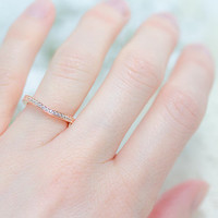 Rose Gold Band - Curved Wedding Band - Art Deco Band - Sterling Silver Ring - Half Eternity Ring - Antique Style - Vintage Style Band