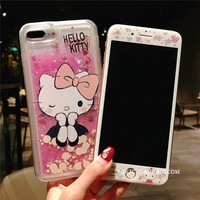 Hello kitty case for iphone 7/ 8plus /6 6splus & tempered glass for iphone 7 plus liquid quicksand back case +screen protector