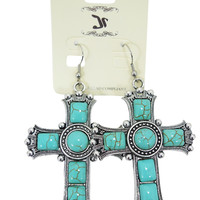 Western Cowgirl Bohemian Oversized Square Shaped Turquoise Cross Earrings