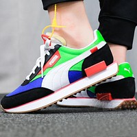 Alwayn PUMA FUTURE RIDER PLAY ON Retro contrast color casual shoes running shoes blue green