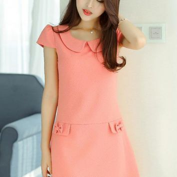 Dress - Office Sweetheart Peter Pan Collar Dress in Pink