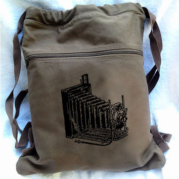 Camera Backpack -Vintage Camera Drawstring Book Bag