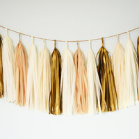 Golden Champagne Tissue Tassel Garland, Luxury Wedding Decor, Wedding Bunting, Nursery Decor, Baby Shower, Bridal Shower, Backdrop