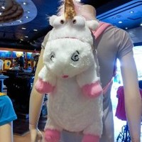 """Universal Despicable Me 3D Ride Agnes Fluffy Unicorn Plush Backpack Extra Large 26"""" Size NEW"""