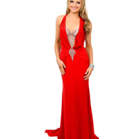 Red Beaded Halter Illusion Back Fitted Jersey Long Dress 2015 Prom Dresses