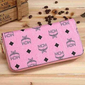 MCM Popular Women Logo Print Leather Single Zipper Purse Wallet Pink I