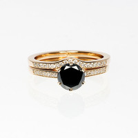 Black  and white diamond engagement ring set, yellow gold ring, unique ring set, black diamond solitaire, curved ring, diamond wedding,