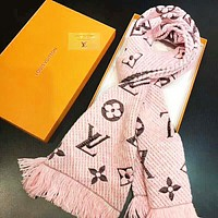 LV Louis Vuitton Autumn And Winter New Fashion Embroidery Monogram Women Men Warm Tassel Scarf Pink