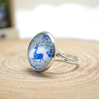 Deer Elk Ring - Inspired by Game of Thrones,House Baratheon Deer Glass Art Ring ,Picture Cabochon Ring Art Ring (R18)