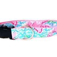 Lilly Pulitzer Dog Collar - Pink and Blue Small & Large Sizes All Breeds - 'Lobstah Roll'