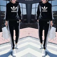"""Adidas"" Women Casual Velvet Stripe Hooded Long Sleeve Sweater Trousers Set Two-Piece Sportswear"