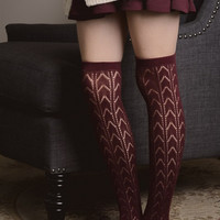 Burgundy Chevron Print Boot Socks