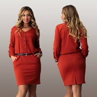 2016 women plus size work dress casual long sleeve cotton mini dresses plus size women clothing 3XL 4XL 5XL