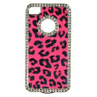 Dream Wireless Chrome Case for iPhone 4/4S - Retail Packaging - Hot Pink Leopard PU Leather-Rear Case Only
