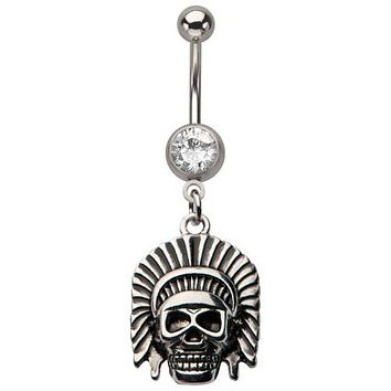 WildKlass Chief skull dangle gem Belly Rings 14g