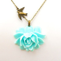 "Mint Rose Necklace, Aqua Blue Green Flower Necklace,  Swallow Necklace, 18"" Antique Bronze Chain  - Pin Up Burlesque Vintage Style"