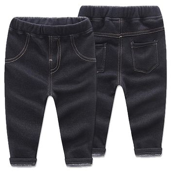 Super Warm Kids Winter Cotton Jeans Baby Boys Girls Casual Thick Denim Pants Toddler Children Trouser