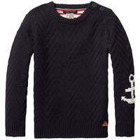Scotch & Soda Boys Dark Navy Anchor Sweater