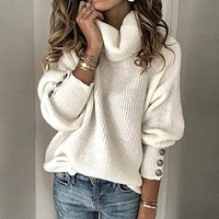 fhotwinter19 women's hot style hot sale high neck pullover loose cuff button sweater