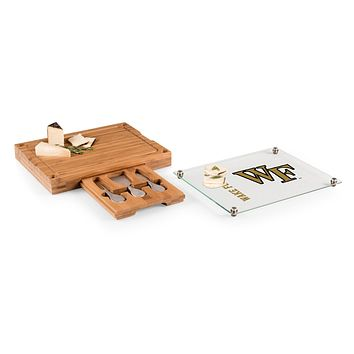 Wake Forest Demon Deacons - Concerto Glass Top Cheese Cutting Board & Tools Set, (Bamboo)