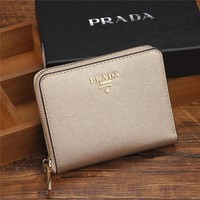 """Prada"" Women Small Purse Fashion Simple Zip Short Section Wallet Card Pack"