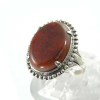 Vintage 1950s Sterling Silver Ring with Texas Flame Agate by Uncas