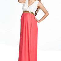 White and Coral Contrast Maxi