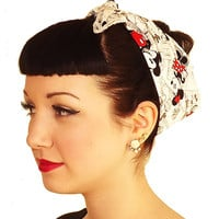 Vintage Mickey Mouse Fabric Head Wrap Scarf