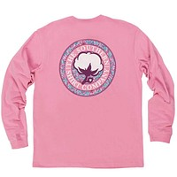 Paisley Logo Long Sleeve Tee Shirt in Moonlite Mauve by The Southern Shirt Co.