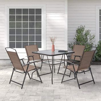 Crestlive Products 5 Piece Patio Dining Set with 4 Folding Chairs and Table Outdoor Dining Furniture with Square Glass Tabletop, Umbrella Hole for Bistro, Garden, Backyard, Deck (Brown) Brown