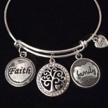 Family Love with Tree of Life Expandable Charm Bracelet Adjustable Bangle Mother's Day Gift