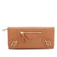 BUCKLED FAUX LEATHER WALLET
