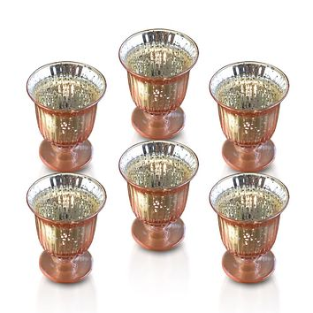 6 Pack | Vintage Mercury Glass Candle Holders (5-Inch, Emma Design, Fluted Urn, Rose Gold Pink) - Decorative Candle Holder - For Home Decor, Party Decorations, and Wedding Centerpieces