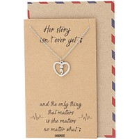 Leim Continue Semicolon Heart Necklace, Mental Health Awareness, Encouragement Gifts for Women