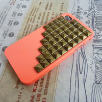 Cool iPhone hard Case Cover with bronze pyramid stud For iPhone 4 Case, iPhone 4S Case,iPhone 4 GS case -043